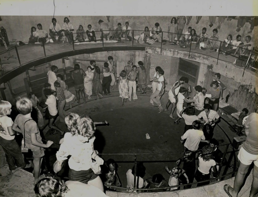 "Dancing at the ""old"" Turret - the pit now contains a 9"" gun as part of the Darwin Military Museum (Photo: TEFC Archive)"